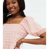 Pink Gingham Square Neck Tiered Smock Dress New Look