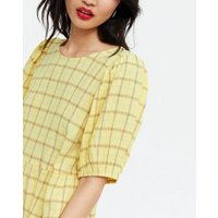 Yellow Check Tiered Mini Smock Dress New Look