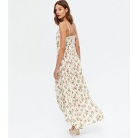 White Floral Button Front Frill Tiered Maxi Dress New Look