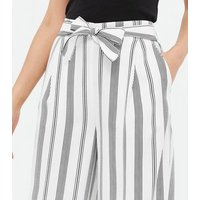 Tall White Stripe High Waist Cropped Trousers New Look