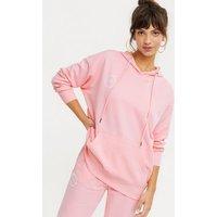 Pink Vanilla Mid Pink Logo Long Hoodie New Look