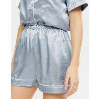 Came Rose Pale Blue Satin Heart Pyjama Set New Look