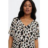 Blue Vanilla Curves Olive Leopard Print Tunic Dress New Look