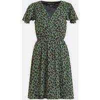 Mela Green Leopard Print Chiffon Mini Dress New Look