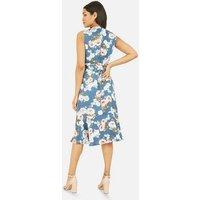Mela Blue Floral Satin Wrap Midi Dress New Look