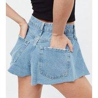 Petite Blue Denim Cut Off Shorts New Look