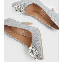 Silver Gem Embellished Stiletto Heel Court Shoes New Look