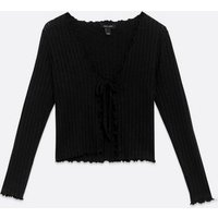 Black Ribbed Fine Knit Tie Front Cardigan New Look