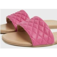 Wide Fit Bright Pink Quilted Leather-Look Sliders New Look Vegan