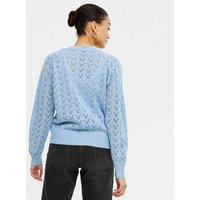 Cameo Rose Pale Blue Cable Knit Button Up Cardigan New Look