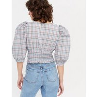 Pink Vanilla Blue Check Puff Sleeve Crop Blouse New Look