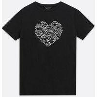 Black Scribble Lips Heart T-Shirt New Look
