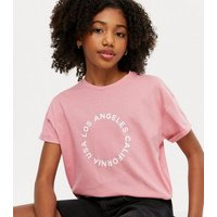 Girls Bright Pink Los Angeles Circle Logo T-Shirt New Look