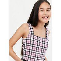 Girls Pink Check Square Neck Cami New Look