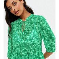 Green Spot Chiffon Tie Neck Long Tunic Blouse New Look