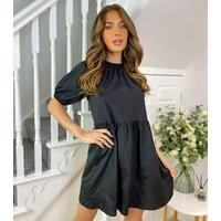 Urban Bliss Black Satin Puff Sleeve Smock Dress New Look