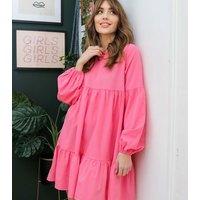 Urban Bliss Bright Pink Puff Sleeve Smock Dress New Look