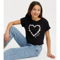 Girls Black Floral It's All Good Logo T-Shirt New Look