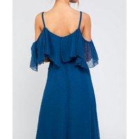 Zibi-London-Blue-Spot-Chiffon-Ruffle-Midi-Dress-New-Look