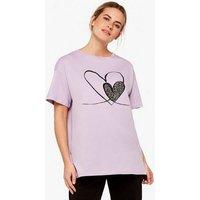 Apricot Lilac Leopard Print Heart T-Shirt New Look