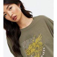 Noisy May Khaki Rules Logo Long Sleeve Crop Top New Look