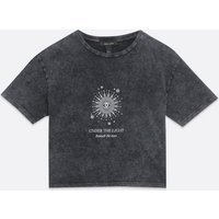 Dark Grey Mystic Logo Acid Wash Crop T-Shirt New Look