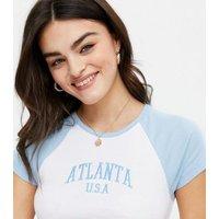 White Atlanta Raglan Logo T-Shirt New Look