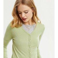 Pink Vanilla Light Green Faux Pearl Button Cardigan New Look