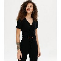 Petite Black Ribbed Ruched Top and Trousers Set New Look