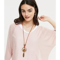 Blue Vanilla Pale Pink 3 in 1 Necklace Batwing Top New Look