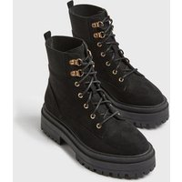 Black Suedette Lace Up Chunky Boots New Look