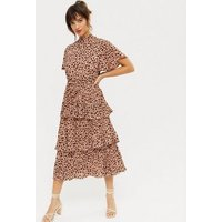 Gini London Orange Spot Tiered High Neck Midi Dress New Look