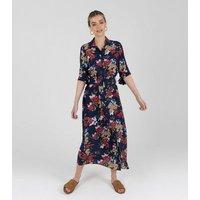 Zibi-London-Navy-Floral-Midi-Shirt-Dress-New-Look