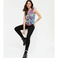 Cutie London Blue Floral Frill Sleeveless Top New Look