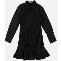 Gini London Black Ruffle Hem Shirt Dress New Look