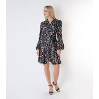 Gini London Black Floral Long Puff Sleeve Wrap Dress New Look
