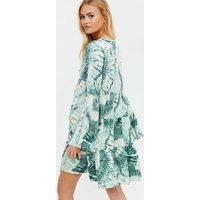 Gini London Green Tie Dye Tiered Smock Dress New Look