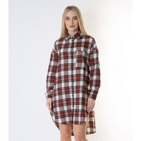 Gini London Red Check Oversized Shirt Dress New Look