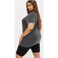 Curves Black NYC Logo Acid Wash Oversized T-Shirt New Look