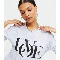 AX Paris Grey Oversized Love Logo T-Shirt New Look