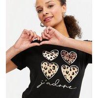 Black Leopard Print Heart J'Adore Logo T-Shirt New Look