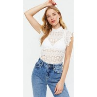 JDY White Floral Lace High Neck Top New Look