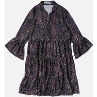 Gini London Grey Leopard Print Tiered Hem Dress New Look