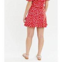 Girls Red Floral Tie Waist Skort New Look