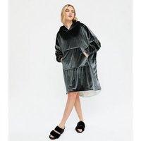 Cameo Rose Dark Grey Soft Hooded Blanket New Look
