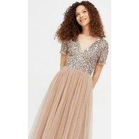 Maya Petite Light Brown Sequin Maxi Dress New Look