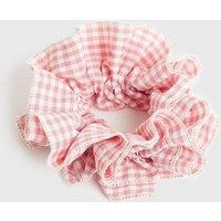 Pink Gingham Ruffle Scrunchie New Look