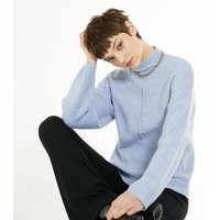 Pale Blue High Neck Seam Front Jumper New Look