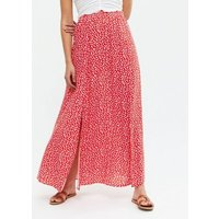 Red Ditsy Floral Side Split Maxi Skirt New Look