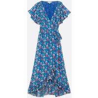 Zibi London Blue Floral Wrap Midi Dress New Look